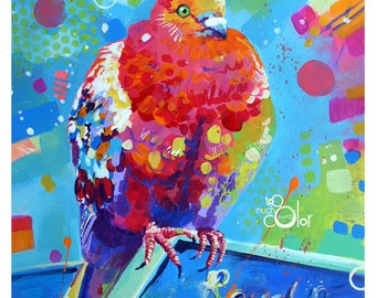 """Pigeon - Original colorful traditional acrylic painting on paper 8.5""""x11"""""""