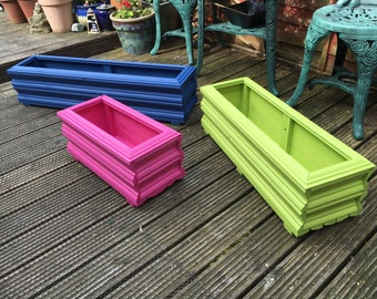 Garden Trough or Window Box Flower or Herb Planter - Hand made  - Small - 50cm long x 23cm wide x 23cm tall - painted in choice of colours