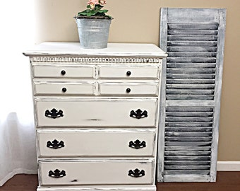 SOLD - Distressed White Tall Dresser