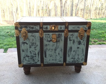 Vintage Steamer Trunk Coffee Table - Side Table