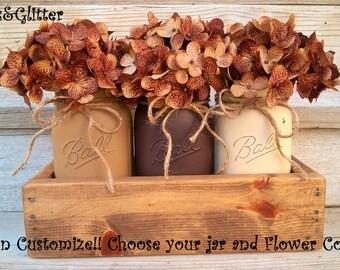 Mason Jar Decor-Fall, Christmas,Home Decor-Thanksgiving Decor-Painted Mason Jars-Wedding-Rustic Home Decor-Table Centerpieces-White-Shower