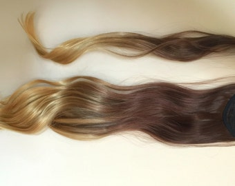 "20"" Dip Dye Ombre Wrap Around Ponytail Clip in Hair Extensions Wavy (Col. dark brown to sandy blonde)"