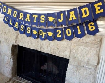 Custom Graduation Banner & Class of 2016 Banner Combo! Can customize school colors and grads name!