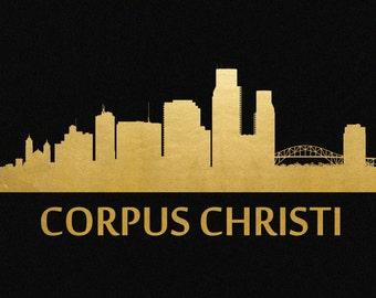 Corpus Christi Skyline Gold Foil Print 8x11