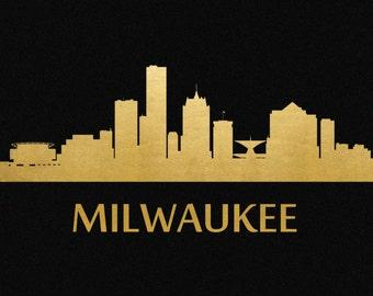 Milwaukee Skyline Gold Foil Print 8x11