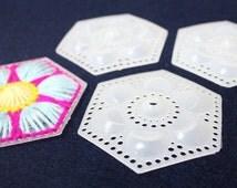 3x3 in - 10 Hexagon-Flower Plastic Canvas