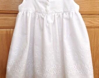 Baby White Dress, Baby Cotton Eyelet Dress, Baby White Cotton Embroidered Dress, Baby White Cotton Dress, 3 Mo, 6 Mo, 12 Mo, 18 Mo, 2T