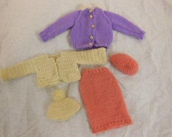 Vintage Barbie Doll Clothes Hand Knit - Assortment