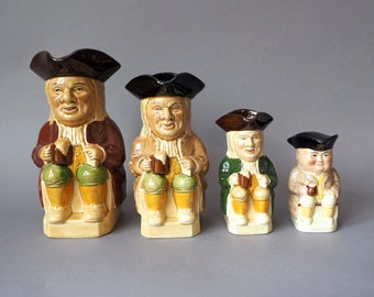 Philpot Sitting character Jug, Set of 4, all sizes of Hoffritz and Tony Wood, Character Mugs Staffordshire, England, L/S, M/S, S/S & No 3