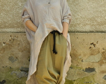 Beige linen SET/Pants and linen tunic/Maxi pants and tunic/Loose set/100% quality linen fabric/Oversize tunic/Harem pants/Beige maxi set