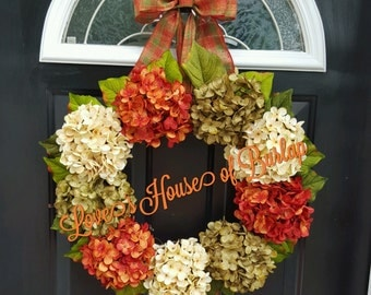 Fall wreath, Hydrangea wreath, Front door wreath, Thanksgiving wreath, Flower wreath, Autumn wreath, Grapevine wreath, Fall decor