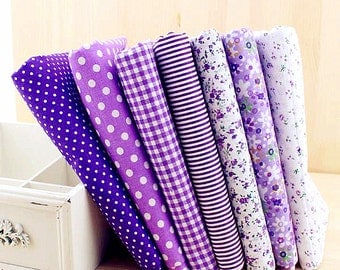 Purple Fabric Purple Bundle Fabric Flower Stripe Plaid Cotton Fabric Sets for 7 each for Quilting Cloth Bag 50X50cm bf11