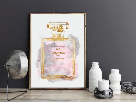 Pink And Grey Perfume Watercolor Wall Art Perfume Bottle