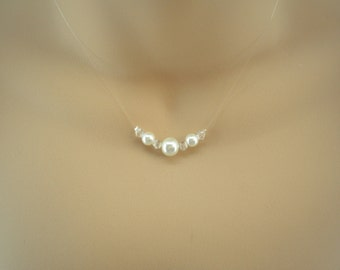 Louisa ~ Coloured Pearl and Clear Crystal Illusion Necklace and Stud Earrings Jewelry Set (9fi)