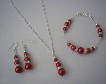 Susan ~ Red Pearl and Diamante Necklace Bracelet & Earrings Jewellery Set, Bridesmaid jewelry, Bridal Necklace Set