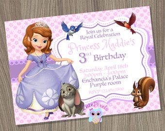 Princess Sofia Invitation, Sofia the first Invitation, Sofia Birthday, Sofia the first Party, Disney Sofia, Princess Birthday