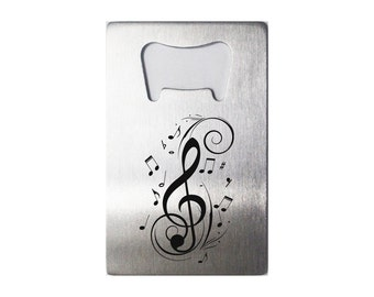 Laser Engraved Credit Card Sized Stainless Steel Bottle Opener - Music Notes