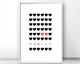 Printable Wall Art,  Black And Pink Heart Print,  Housewarming Gift Home Decor Print, Black Pink Hearts,  Digital Wall Art, Family Art Print