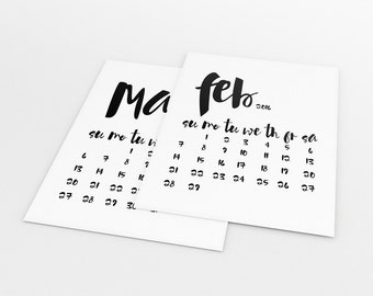 Printable Calendar 2016, Monthly Calendar Download, Black And White Office Calendar, Typography Calendar, Printable Wall Calendar