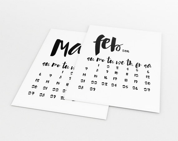 Typography Calendar Download : Printable calendar monthly by limitationfree