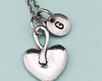 Heart necklace, Valentine's Day necklace, heart charm, Valentine's jewelry, love necklace, personalized necklace, initial necklace