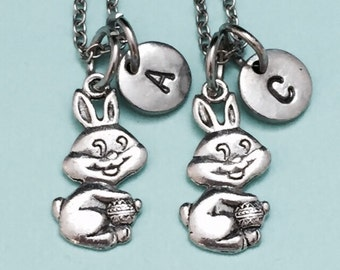 Best friend necklace, bunny necklace, animal jewelry, Easter necklace, bff necklace, friendship jewelry, personalize necklace, initial charm