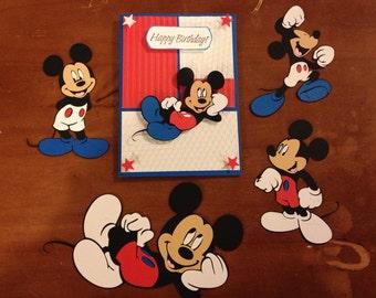 Set of 4 Patriotic Mickey die cuts with Birthday Card