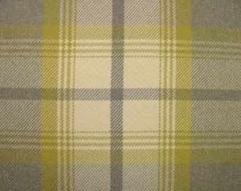 Balmoral Citrus And Grey Wool Effect Washable Thick Tartan Plaid Upholstery & Curtain Designer Fabric