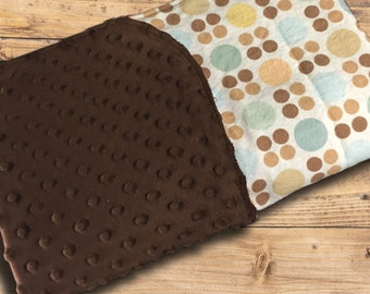 Baby Blanket-Flannel and Dot Minky Blanket-Baby Shower Gift-Baby Boy Blanket