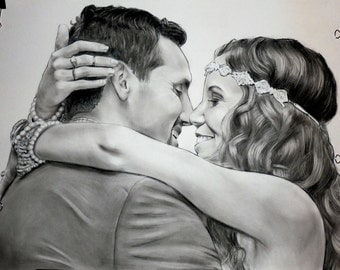 Charcoal Portrait drawing Personalized Birthday gift Custom Portrait From photo Custom sketch Portrait drawing Art from picture Wedding gift
