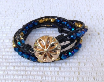 Blue and gold Swarovski crystal double HippieWrap bracelet