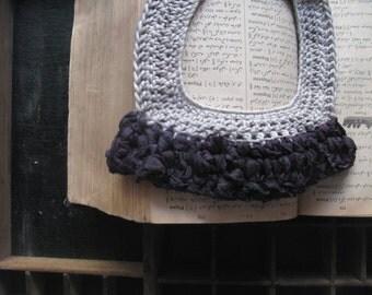 Silk necklace, bib necklace, cotton yarn, yarn jewellery, grey necklace, black necklace