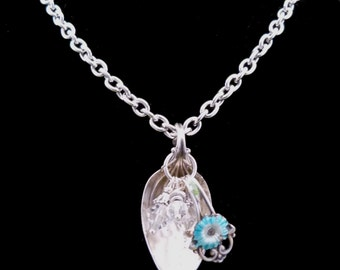A Danish Sterling Spoon Necklace with Blue Enameled Flower, N1005