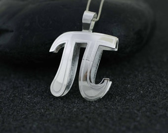 Sterling Silver Pi Necklace, Silver PI necklace, mathematics jewelry, Pythagoras, Geeky Jewelry,