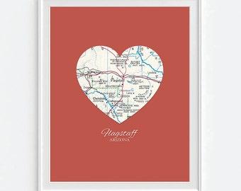 Flagstaff Arizona Heart Vintage Map ART PRINT, Flagstaff Arizona art map print poster, gift for couple,wedding gift, Christmas gift for her