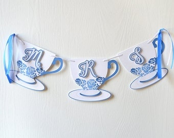 Layered Tea Party Banner: Choose your own message to display on these delicate tea cups, other color options available - LRD001DC