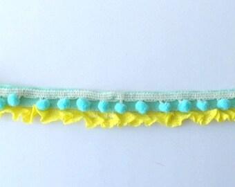 Lemon yellow and aqua baby or toddler headband    -Matilda Jane accessory  -twins  -any size   -pom poms