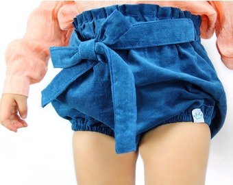 Teal corduroy baby bloomers / Baby girl bloomers / Toddler girl bloomers / Baby girl shorts / Baby girl fashion / Baby girl clothes
