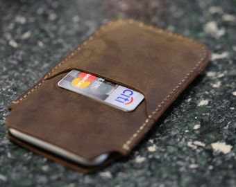 Leather phone sleeve, Leather IPhone 6/6s, Iphone 7 sleeve, Crazy horse leather phone sleeve