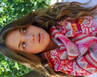 Tribal Pink Scarf Pure Wool Scarf Valentine Scarf Pink Wool Scarf Women Scarves Pink Scarf Tribal Scarf Gift For Her Winter Scarf Boho Scarf