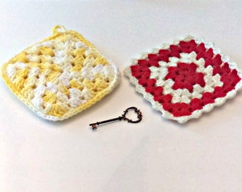 Handmade Crocheted Pot Holders: Set of 2, Yellow and White, Red and White, Cottage Kitchen