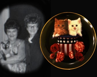 """1993 Collectible """"Sweet Independence"""" Limited Edition """"Coming Up Roses"""" Kitten Plate by Richard Stacks"""