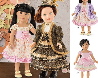 """Victorian, Steampunk, 18"""" AG Doll Clothes, Simplicity Pattern 8112, tiered dress, laced corset, jacket, ruffled skirt, slip, UN-CUT"""