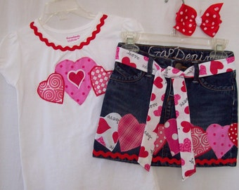 Custom boutique girls Valentine skirt & shirt set all sizes available
