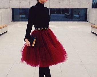 Red Burgundy Fluffy Full Layered Petticoat Tulle Skirt Tutu Bridesmaid, Wedding, Flower Girl Gown