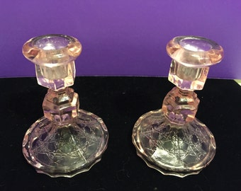 Vintage Pink Glass Candle Holders