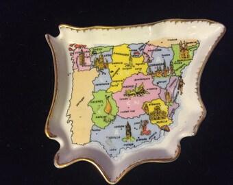 Vintage Souvenier Porcelain Ashtray From Spain EME