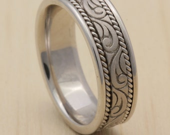 7mm 14k White Gold Wedding Band, Paisley Design Floral, High Polished Finish, Sand finish, Rope Twist, Comfort Fit