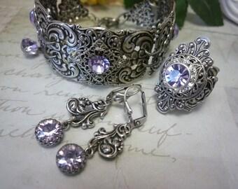 "Filigree set, Victorian style set, a set of silver-plated brass, elegant set, brass bracelet, filigree ring, violet earrings, ""Lada"""