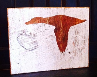 Reclaimed wood sign with Loon silhouette - natural wood with white background, cottage decor, Canadiana Up North art